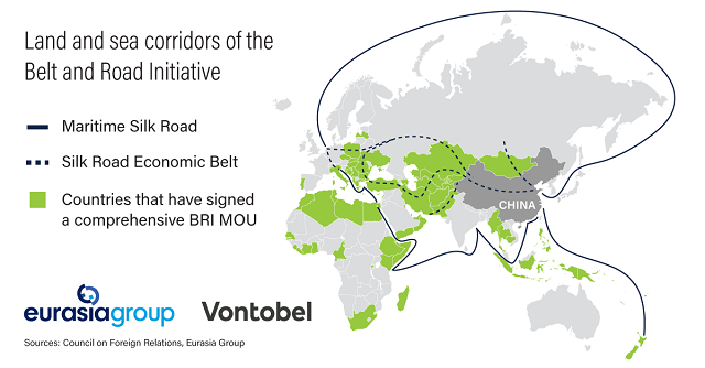 Land and sea corridors of the Belt and Road Initiative