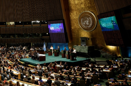 Candidates to be the next United Nations secretary-general debate in 2016 at the General Assembly at UN headquarters in New York. REUTERS.