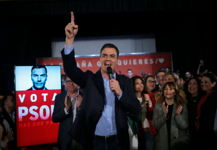 Spanish Socialist Prime Minister Pedro Sanchez speaks at a rally.