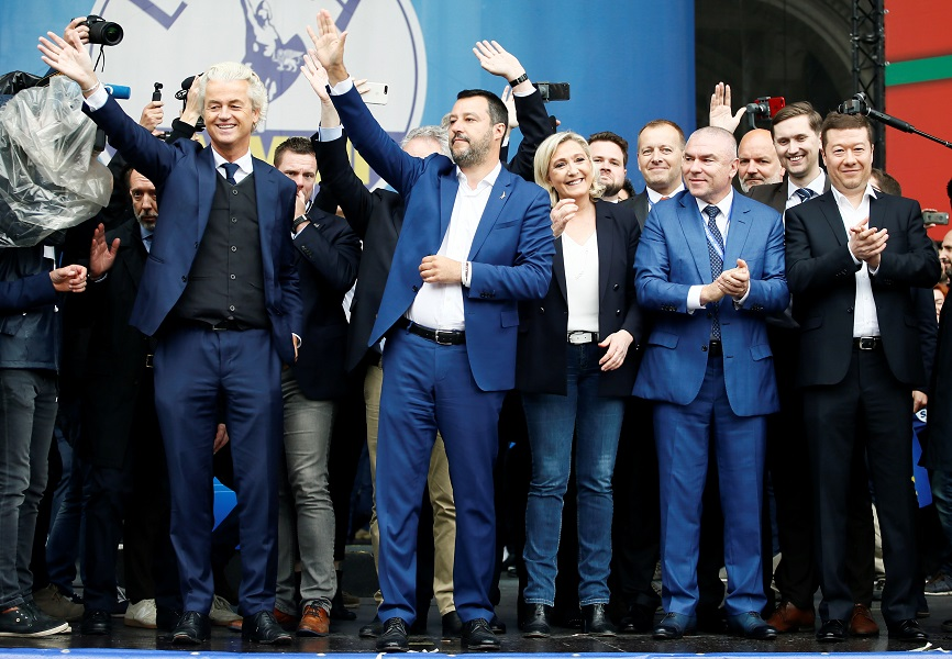 Geert Wilders of the Dutch PVV party, Italian Deputy Prime Minister Matteo Salvini, Marine Le Pen of the French National Rally party, Veselin Mareshki of the Bulgarian Volya party, and Tomio Okamura of the Czech SPD party attend a rally of European nation