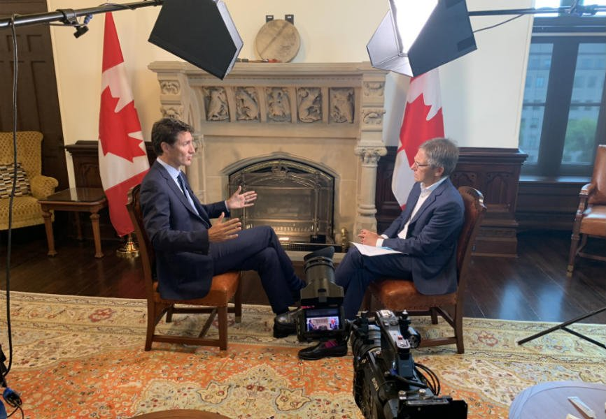 Eurasia Group and GZERO Media President Ian Bremmer interviews Canadian Prime Minister Justin Trudeau in Ottawa.