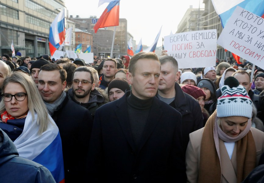 Russian opposition leader Alexei Navalny participates in a rally. REUTERS.