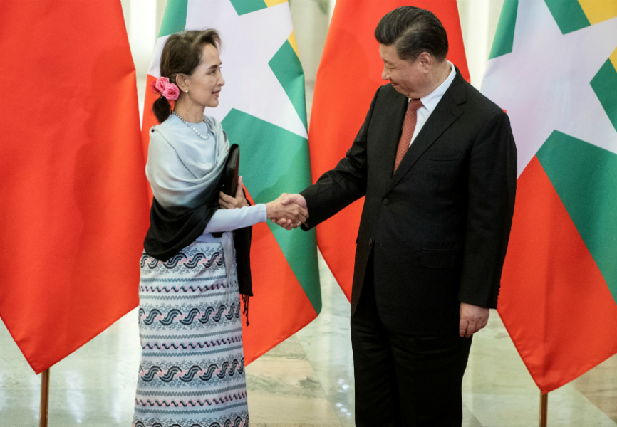 Myanmar State Counselor Aung San Suu Kyi and Chinese President Xi Jinping. REUTERS.