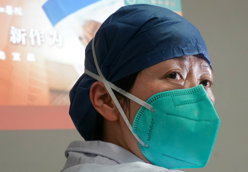 A medical worker at Union Hospital in Wuhan, China. REUTERS.