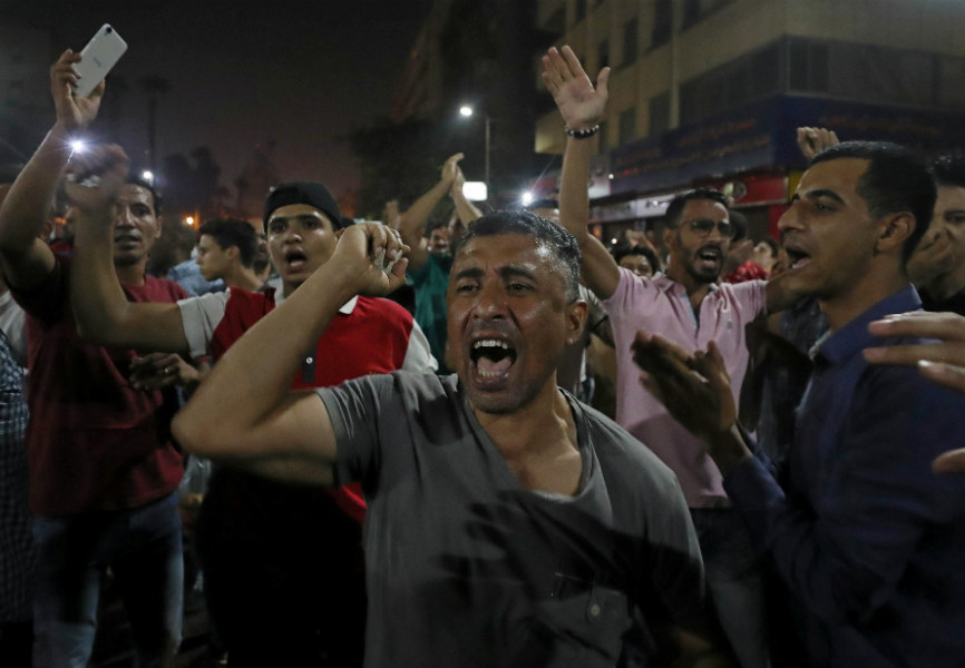 Egyptian anti-government protesters gathered in Cairo. REUTERS.