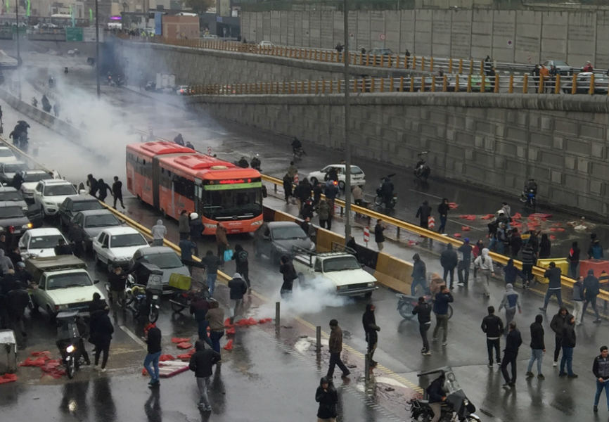 Iranians in Tehran protest against a gas price increase. REUTERS.