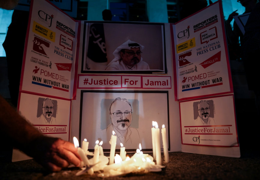 A vigil for journalist Jamal Khashoggi at the Saudi Embassy in Washington. REUTERS.