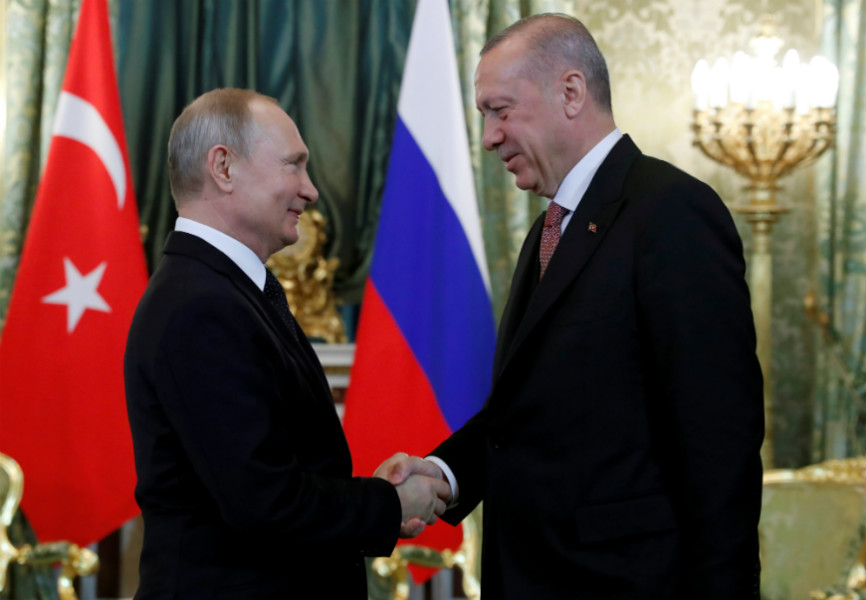 Russian President Vladimir Putin and Turkish President Recep Tayyip Erdogan meet in Moscow. REUTERS.