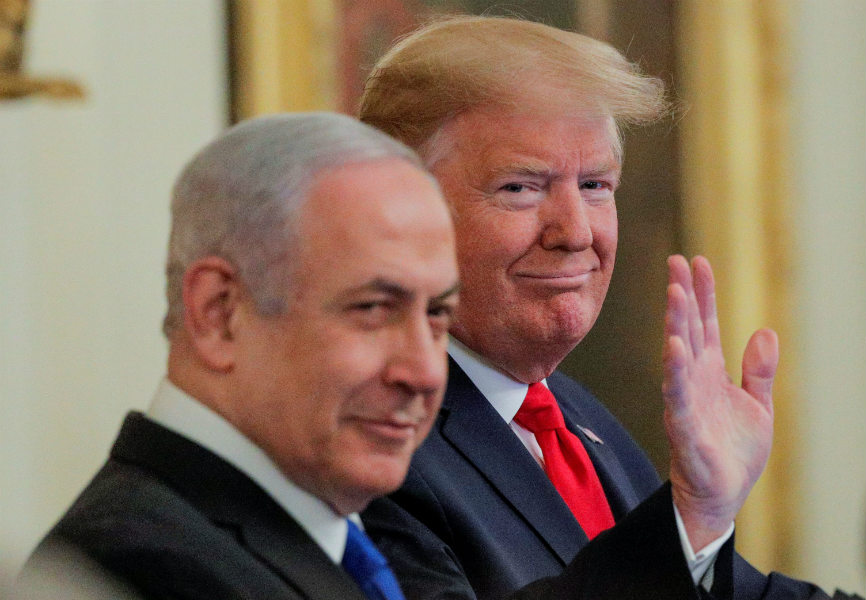 US President Donald Trump and Israeli Prime Minister Benjamin Netanyahu discuss the Trump administration's Middle East peace plan. REUTERS.