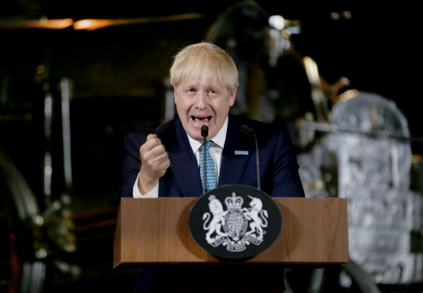 UK Prime Minister Boris Johnson gives a speech on domestic priorities at the Science and Industry Museum in Manchester. REUTERS.